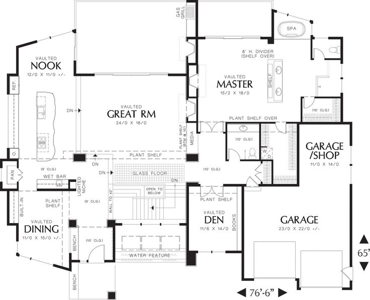 Modern Style House Plan - 4 Beds 3.50 Baths 4600 Sq/Ft Plan #48-457 Floor Plan - Main Floor Plan - Houseplans.com