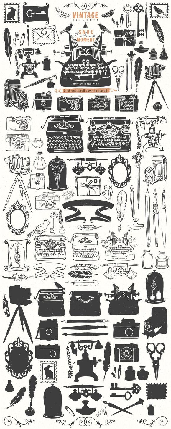 Check out Vintage hand drawn illustrations by kite-kit on Creative Market