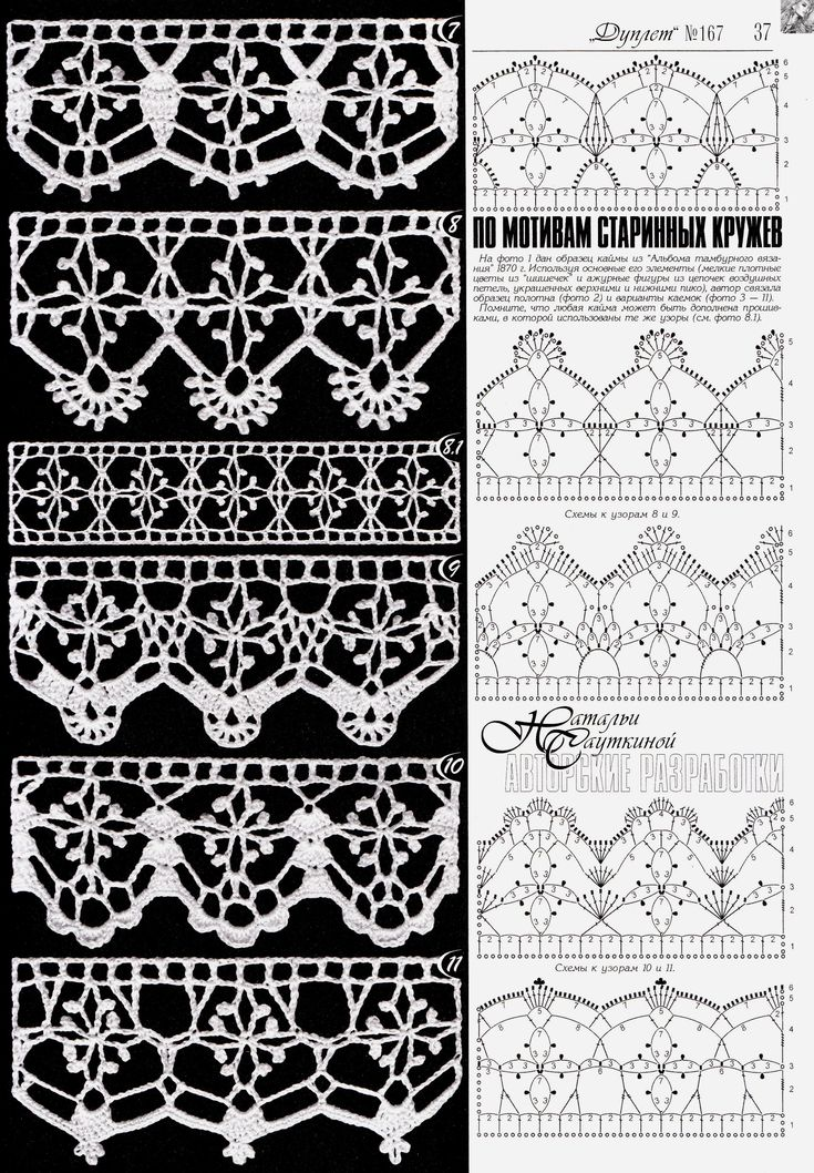 Beautiful crochet lace edging. I love Nr 10. ~~ Duplet 167
