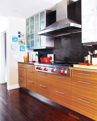 brown cabinets with grey & black color palette