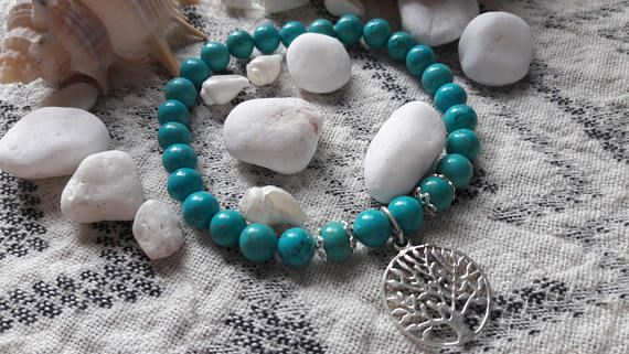 Howlite Beaded Bracelet with Sterling Silver Tree of Life