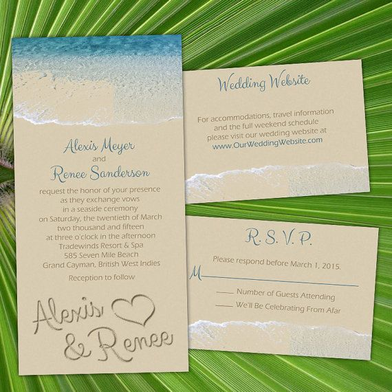 """Celebrate your beach wedding, civil union or commitment ceremony with our """"By The Sea"""" invitations. The design features your names written in the sand as the waves hit the shore.  Custom By The Sea  Same- Sex Wedding Invitations by InviGAYtions, $4.95"""