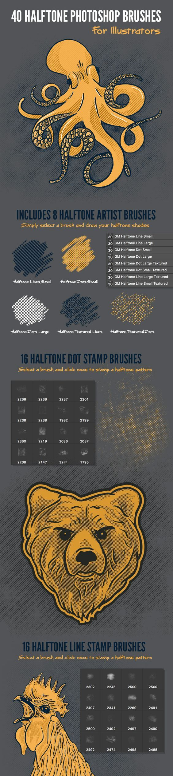 Nothing gives your artwork a vintage, screen printed, look like halftone patterns. Now you can add them quickly and easily using this handy set of brushes for Photoshop #illustrator #lines #old • Available here → http://graphicriver.net/item/40-halftone-illustration-brushes-for-photoshop/15765092?ref=pxcr