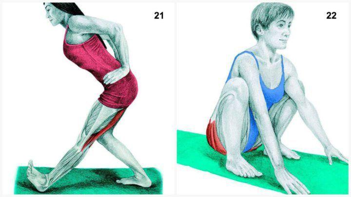 X1621. Задействованные мышцы: задней поверхности бедра  Выполнение: выставьте одну ступню впереди другой. Положите руки на бедра и, выпрямляя спину, начните нагибаться от бедра.  22. Задействованные мышцы: ягодичные  Выполнение: станьте, поставив ноги на ширину плеч и медленно присядьте, выпрямив руки между ног и удерживая равновесие при помощи стоп и бедер.