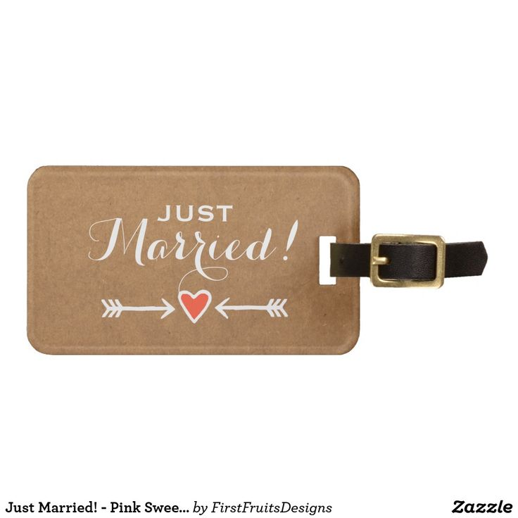 Just Married! - Pink Sweethearts & Arrows White Bag Tag It's charming but simple. Just the right combination of elegant and casual, with a touch of sweet ol' farmyard charm. The perfect theme for a variety of different styles of wedding: shabby chic, outdoors, heart-and-arrow style romance, or just for that sweet, rustic feel. It's original, and uniquely your own. This luggage tag is just the unique touch you need before you set off on your new adventures as mister and misses!