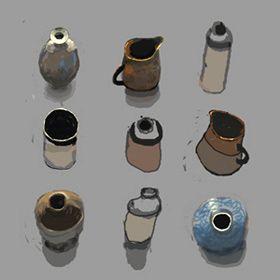 9 pots, still life, Digital art, iPad Painting. Kathy Lewis