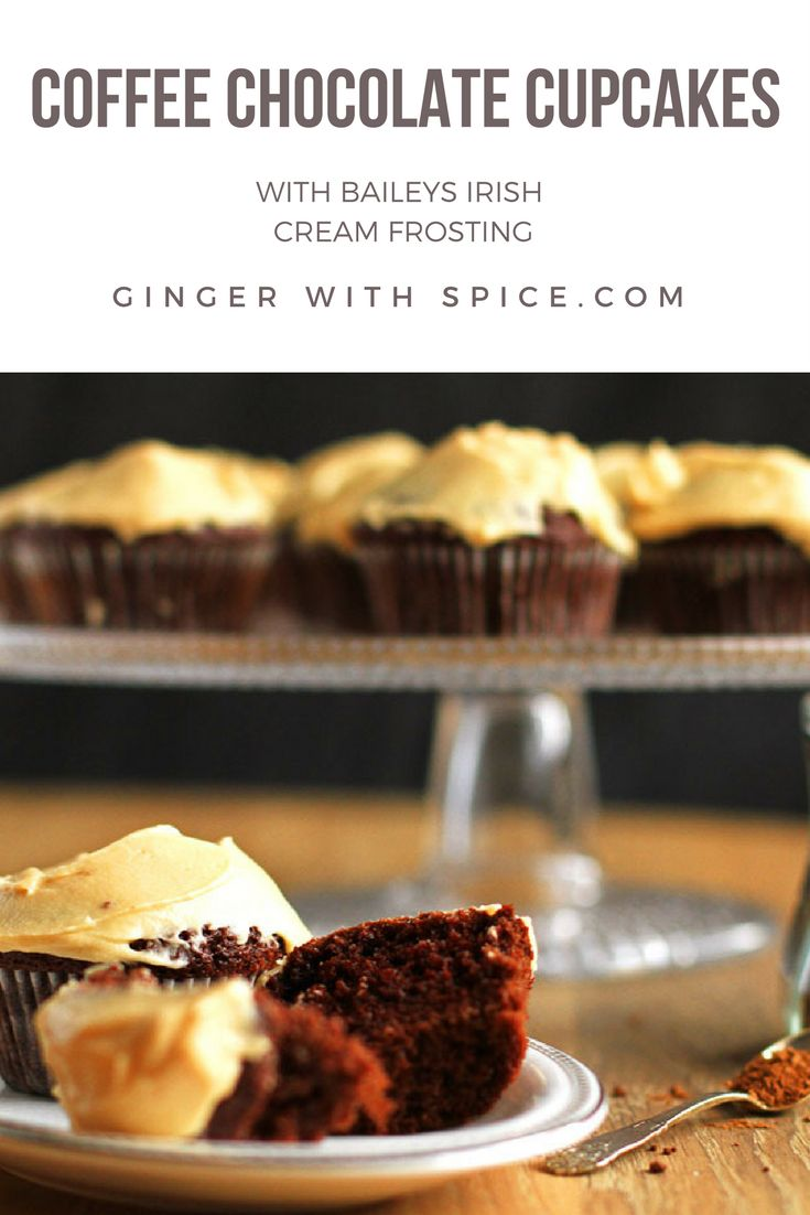 Chocolate Coffee Cupcakes with Irish Baileys Frosting to get you in the Holiday spirit. The chocolate and coffee cupcakes are so moist and pairs incredibly with Baileys. Click to find the recipe!