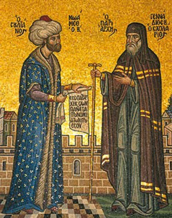 Sultan Mehmed the Conqueror with patriarch Gennadius II depicted on a 20th-century mosaic