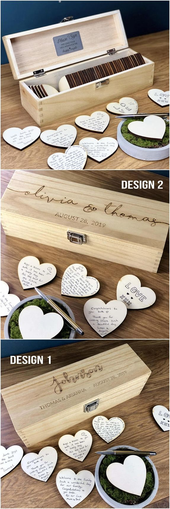 Wedding Guest Book – GuestBook Alternatives – Guestbook Sign – Personalised Custom Guest Book – Rustic Wedding Box – Hearts – Unique Ideas