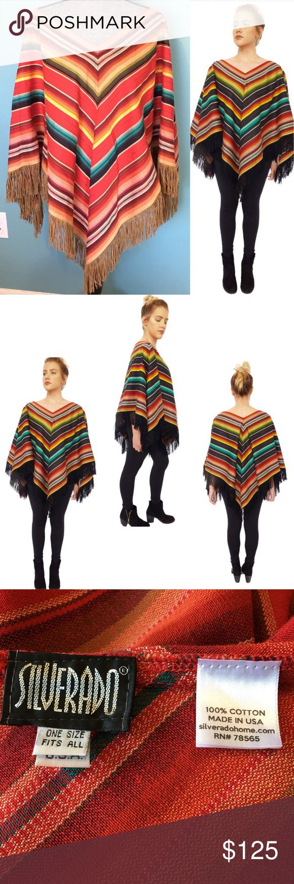 """Silverado Triangle Poncho OSFA Suede Fringe New Silverado Home NEW without Tags Triangle Poncho, Multi-color Pullover style, made in the USA, OSFA One size with Suede look Fringe. 100% cotton Poncho, Vneck front & back. Length 26"""" from V to hem. 26"""" from shoulder to wrist. NWOT Silverado Sweaters Shrugs & Ponchos"""