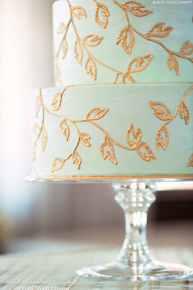 #Mint Green #Wedding #Cake with Hand Painted Gold Leaf Accents / Alante Photography / Honey Crumb Cake Studio / Aria Style / via Style Unveiled