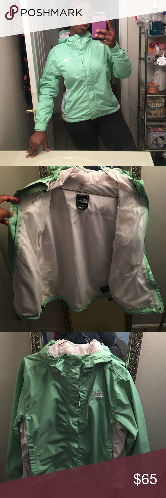 North Face Windbreaker!!! If you want to break some wind why not do it in style. This Norton Face jacket is in good used condition it HONESTLY still looks new. There is some tiny marks as picture on the jacket but you hardly can see it like no one would walk up to you and say eww girl what's that. This jacket wear is mostly on the snap patches there is little pink lint balls that I am sure can be removed if you have the patience to do so. Despite the TINY flaws this jacket have it's a…