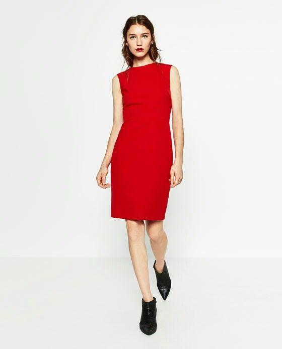 Shift Dress by Zara. Red Shift Dress. Red Work Dress. Day to night dress.