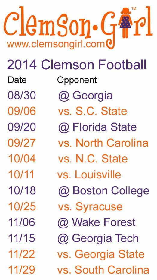 Clemson Girl - 2014 Clemson Football Schedule @Jamie Wise Worthy (there is one vs Louisville!!!!)