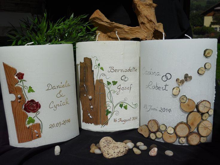 Hochzeitskerzen mit Holz Verschiedene Varianten