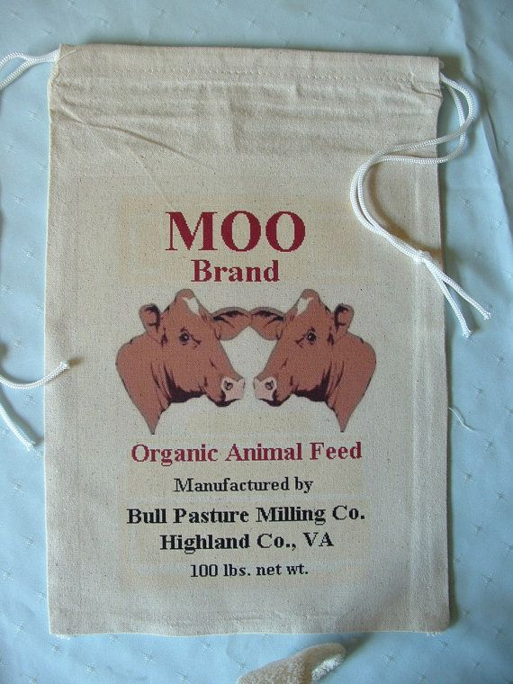 MOO Brand Organic Animal Feed, Highland Co., VA, Novelty Feed Sack Bag. $11.00, via Etsy.