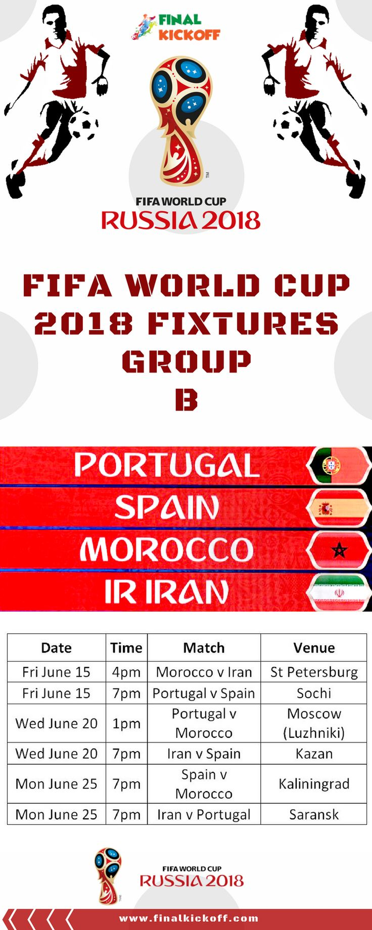 FIFA World Cup 2018 Match Schedule Group B