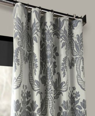Exclusive Fabrics Furnishings Magdalena Jacquard 50 X 108 Curtain Panel Blue Damask Curtains Curtains Curtains For Grey Walls