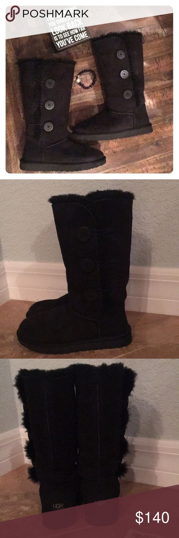 NWOT UGG Tall Bailey Button Boots Black Gorgeous authentic black Tall Bailey Button UGG boots. Worn ONCE indoors. Purchased at Nordstrom then moved to sunny Florida so don't have a need for them now! Can also be worn folded down (see photos) You will not be disappointed! Paid $220 ⭐️Thanks for looking! UGG Shoes Winter & Rain Boots