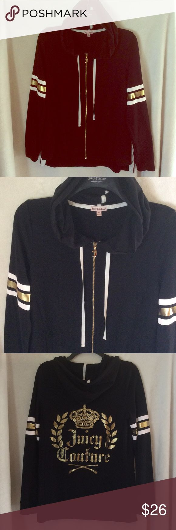 Juicy Couture Woman's Medium Black & Gold Zip Up Juicy Couture Size Medium Woman's Zip Up Hoodie Super Cute Only Worn a handful of times. I'm trying to minimize my collection. Cute Gold & Black  Juicy Couture Tops Sweatshirts & Hoodies