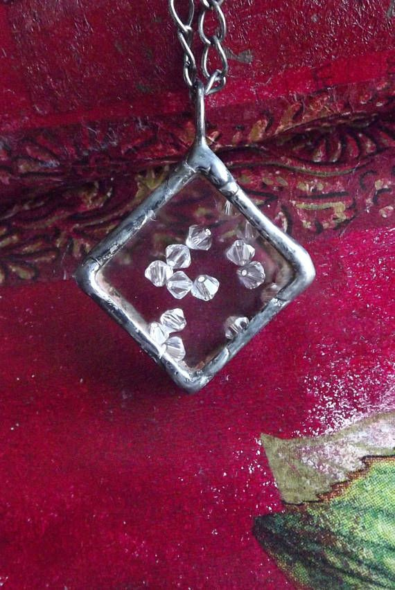 Square pendant with Swarovski crystals.Jewelery with Swarovski
