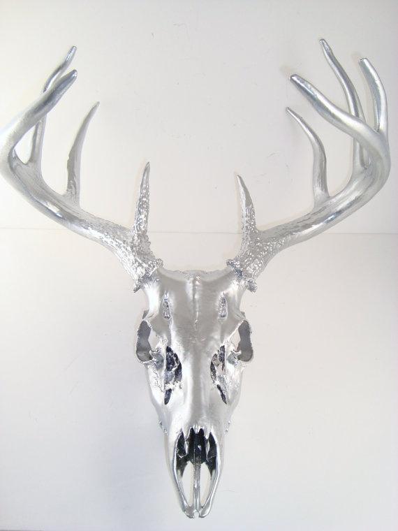 Deer Antler Chrome Skull Nature Large Art Sculpture by MayaJadeCreations