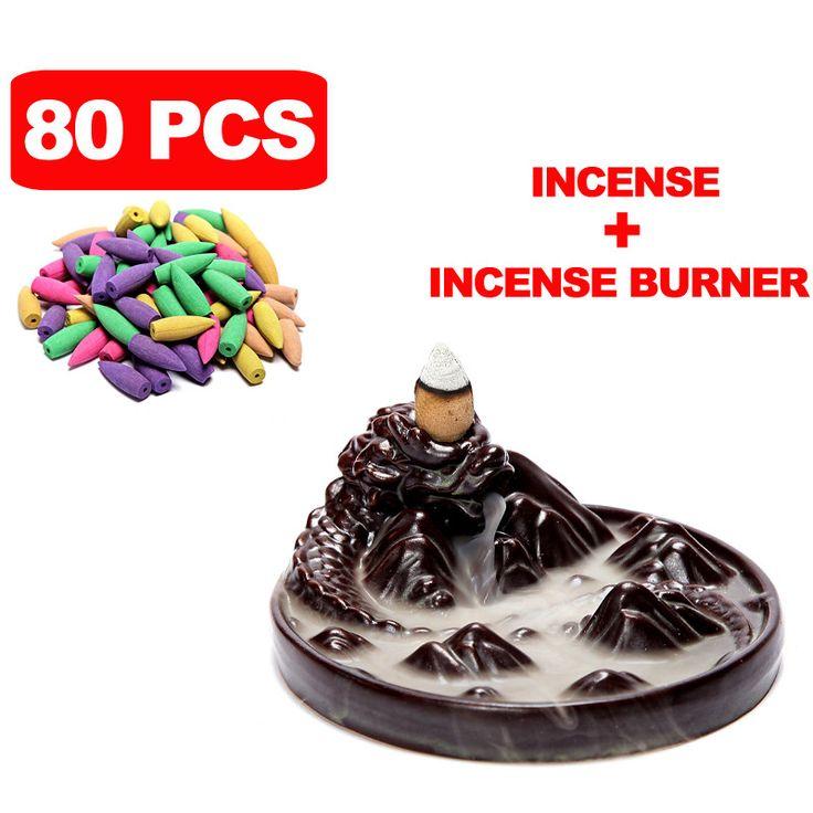 80 Pcs Incense Cones Ceramic Dragon Incense Burner