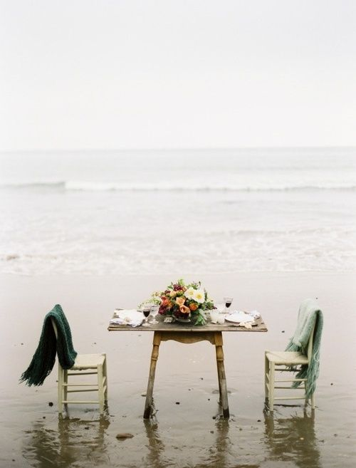 Dinner for two by the seashore