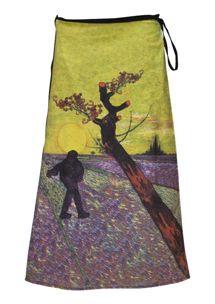 Art Wrap Skirt Vangogh Sunset