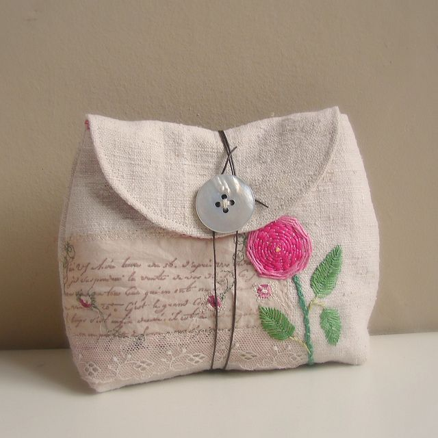 Pouch antique linen embroidered rose1 | Flickr: Intercambio de fotos