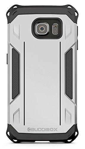 BUDDIBOX Galaxy S6 Case [Corner Series] Slim Fit Dual Layer Soft Cushion Drop Protection Heavy Duty Case for Samsung Galaxy S6 (Silver)