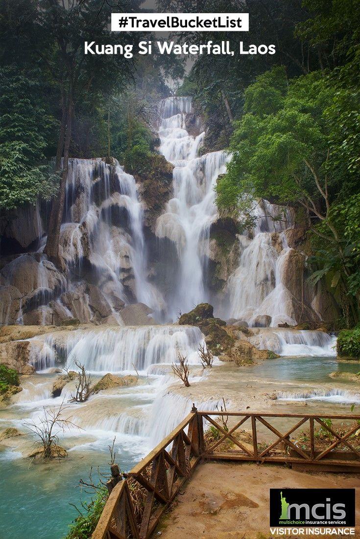 Take a refreshing swim in the secret pool of Kuang Si Waterfall in Luang Prabang, Laos. #MCIS #Travel #Waterfalls #Laos #KuangSi