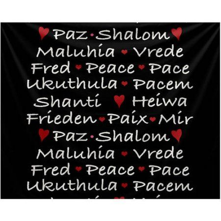 Words of Peace Word Print Tapestry, Black