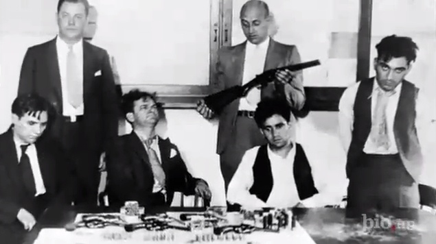 """Murder Inc group photo. From left: Pittsburgh Phil, Bugsy Goldstein, Abe """"Kid Twist"""" Reles, and Happy Maione. (Photo from Biography channel's Gangsters: Murder Incorporated.)"""