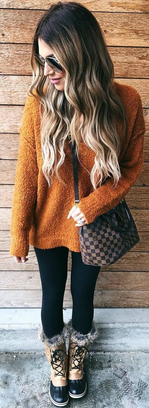 #winter #outfits brown sweater, leggings, boots