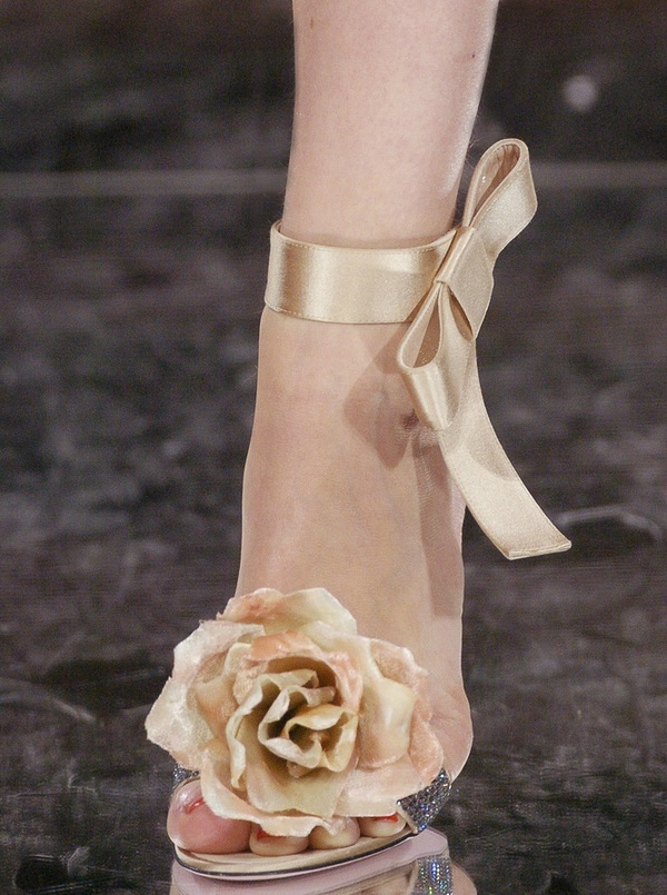 Shoes, flower and ribbon bow