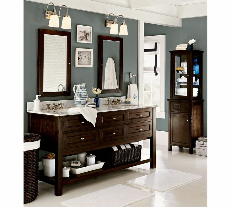 My dream bathroom! Love the wall color, recessed medicine cabinets..everything!