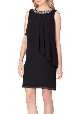 Tahari Asl Women's Sleeveless Asymmetrical Shift Dress -  - No Size