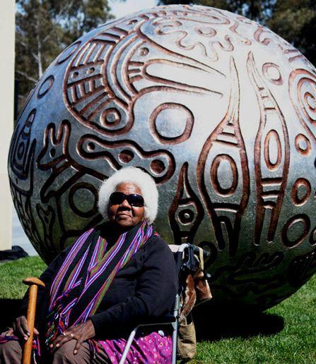 Gloria Fletcher (Aboriginal Australian: 1937 - 2011) - Thanakupi – Ceramic spherical story pot sculpture