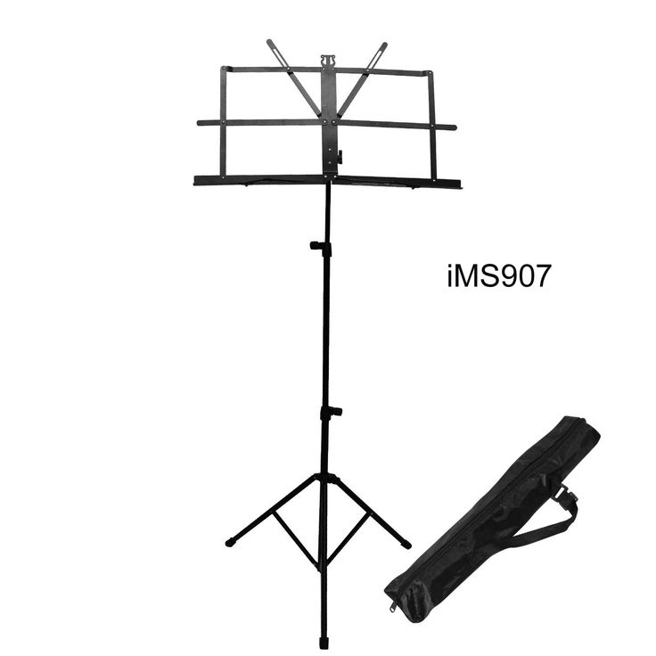 """Product Description  Folds up to a small 22"""" compact size for easy carrying  Telescopes from 20"""" to 50"""" tall  Includes Arms to hold down your music  Traditional stand for musicians of all types  Colour : black  1 x Folding Music Stand 1 x Waterproof bag"""
