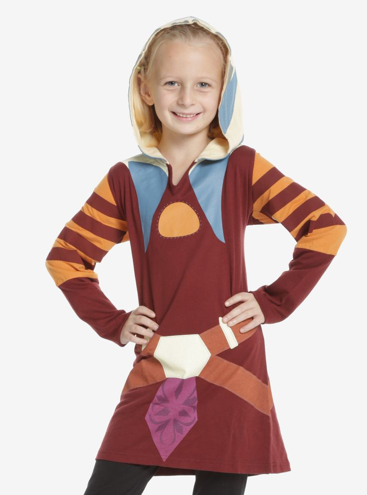 """When Ahsoka Tano got a new costume in Season 3 of <i>Star Wars The Clone Wars</i>, little girls wanting to cosplay as Ahsoka were in need of a new costume too! Wanting to take a fashion twist, we made a long sleeve costume tunic top complete with thumbholes and a hood to replicate Ahsoka's Lekku! This ultra comfortable top will keep girls cozy while they are pretending to be their favorite Jedi Padawan.<div><ul><li style=""""list-style-position: ins..."""