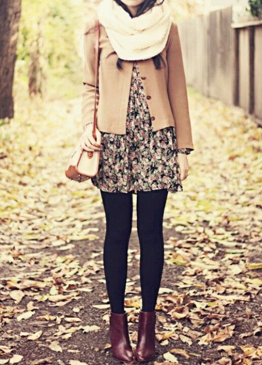 I adore everything about this from the floral dress to the tights to the jacket and scarf.