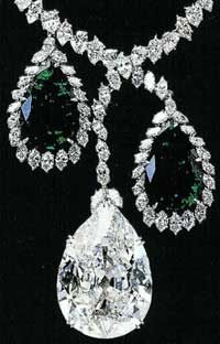 The Star of the East, is a fine 94.80-carat pear-shaped diamond, mounted on a chain below a hexagonal emerald of 34 carats and a pearl of 32 grains.