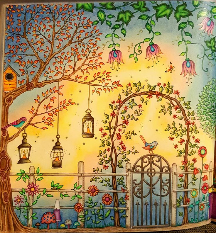 The Secret Garden Adult Coloring book CLOSE UP of right side of gazebo two page spread. See full page on my adult coloring book boards. Colored by Dayna Brown with Prismacolors, Caran D'ache Pablos, and Polychromos pencils. The background is soft pastels done first. I erased excess pastels off of the shapes in the picture (like leaves and birds) worth an eraser before spraying with workable fixative. The colored pencils are some over the top of the workable fixative.