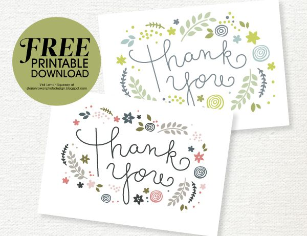Free Printable Thank You Card Download She Sharon