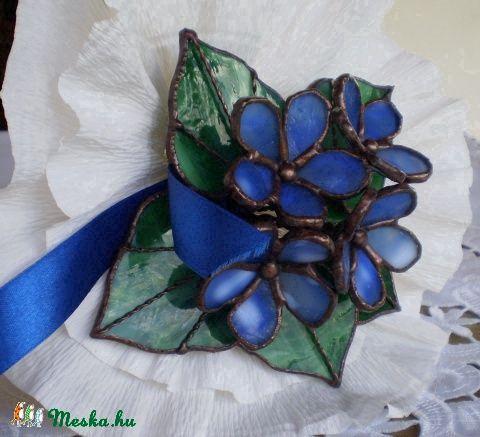 Meska - Tiffany ibolyacsokor  tiffany virág ajándék névnapra, születésnapra, házavatóra Dittiffany kézművestől