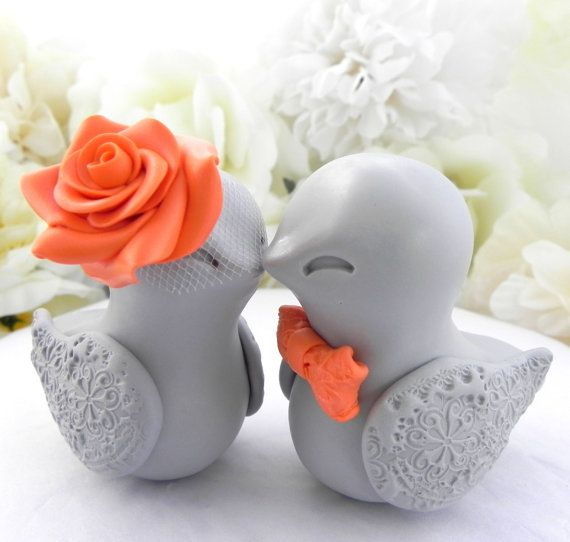 Love Birds Wedding Cake Topper, Grey and Orange, Bride and Groom Keepsake, Fully Customizable