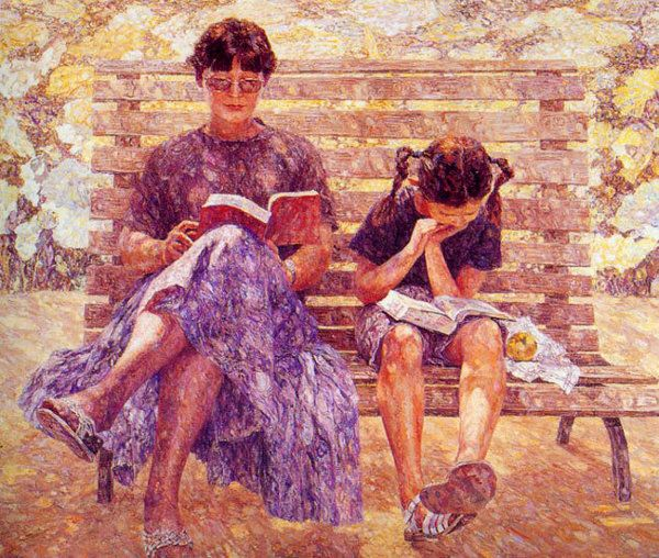 Sun Weimin, 1946  China: Dom Weimin, Art Mothers, Chinese Children Art, Daughters Reading, Sun Weimin, Books Geekand, Woman Reading, Reading Books, Chine Paintings