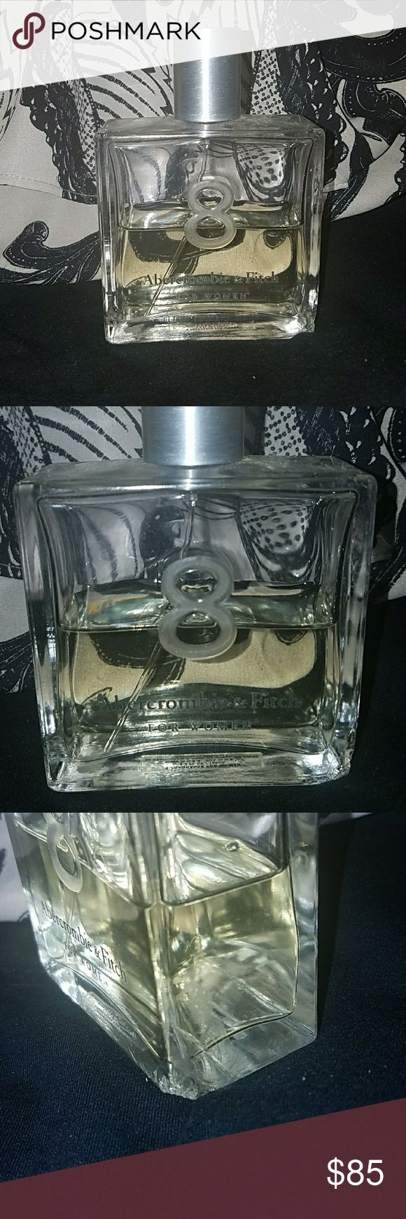 Abercrombie & Fitch 8 Original Perfume 3.4 fl oz Exactly 50% is remaining. This is the large 3.4 fl oz bottle of Abercrombie & Fitch 8 Women's Original Perfume. The bottle does have a chip on the side but does not affect anything. The sprayer comes out in more of a stream then mist. Smells awesome! This has been discontinued! Abercrombie & Fitch Makeup