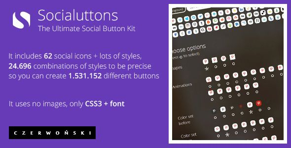 Socialuttons - The Ultimate Social Button Kit. Buy it on Codecanyon for just $3
